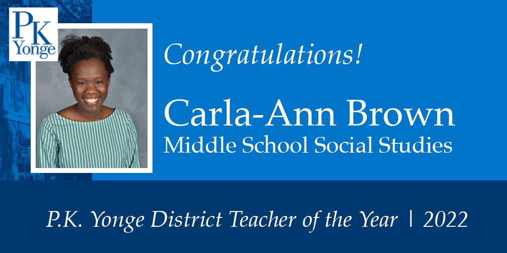Carla Ann Brown Teacher of the Year
