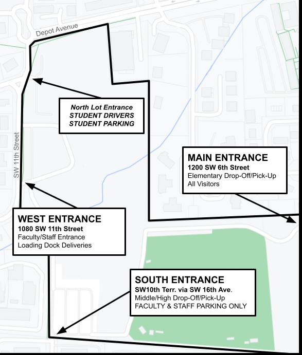 Map of Entrances to P.K. Yonge