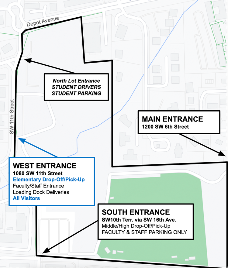 All entrances to P.K. Yonge Oct 20-2021 - map