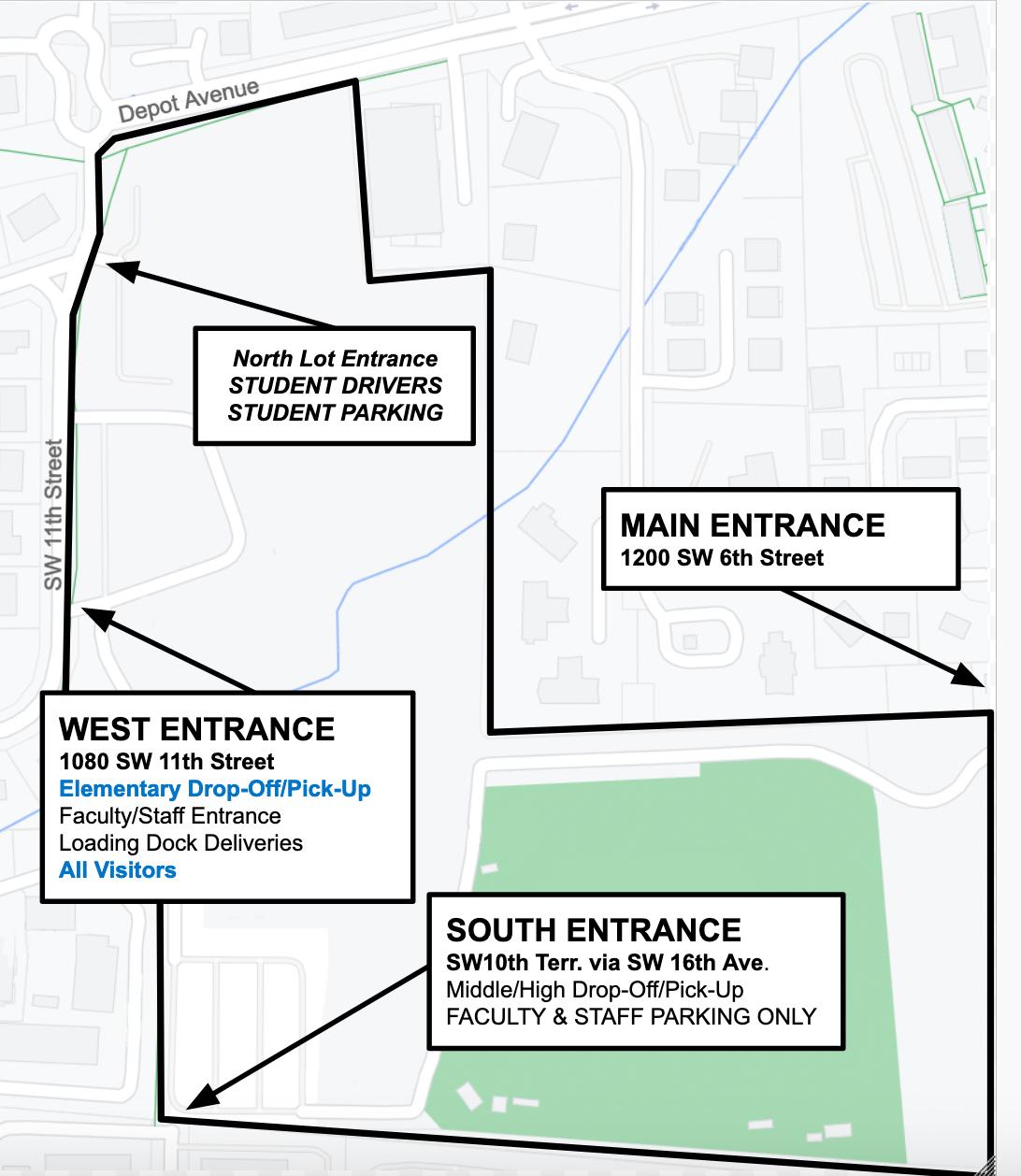 All Entrances to P.K. yonge - Map