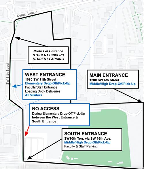 All Entrances to P.K. Yonge _ Map